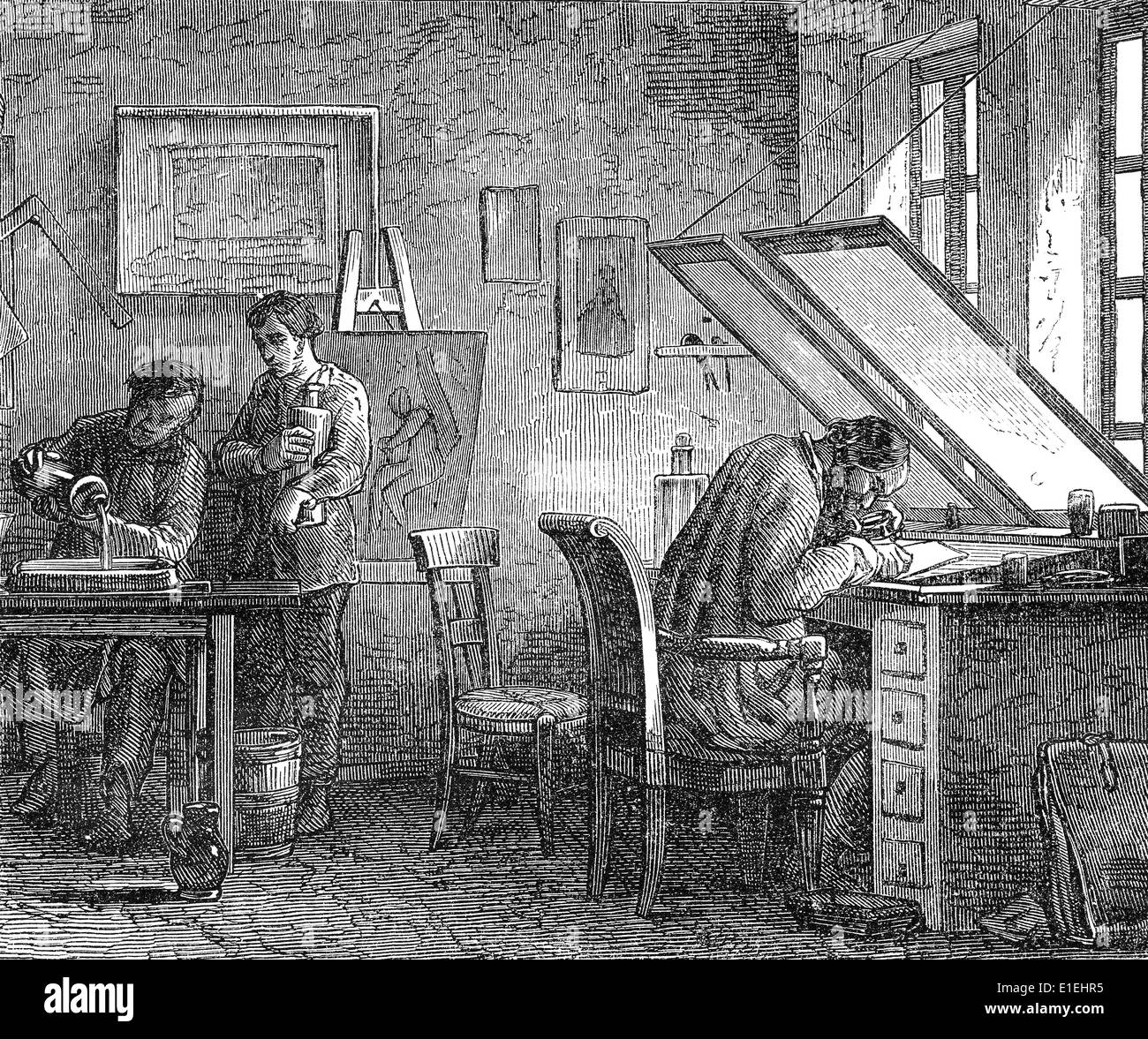 Engraver in 19th century, - Stock Image