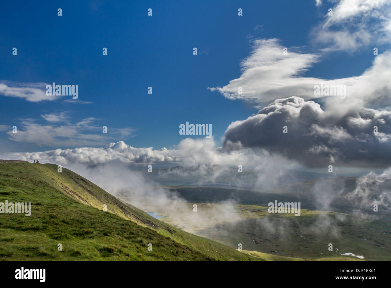 Whernside, one of the Yorkshire 3 Peaks, from the summit, rural Yorkshire - Stock Image