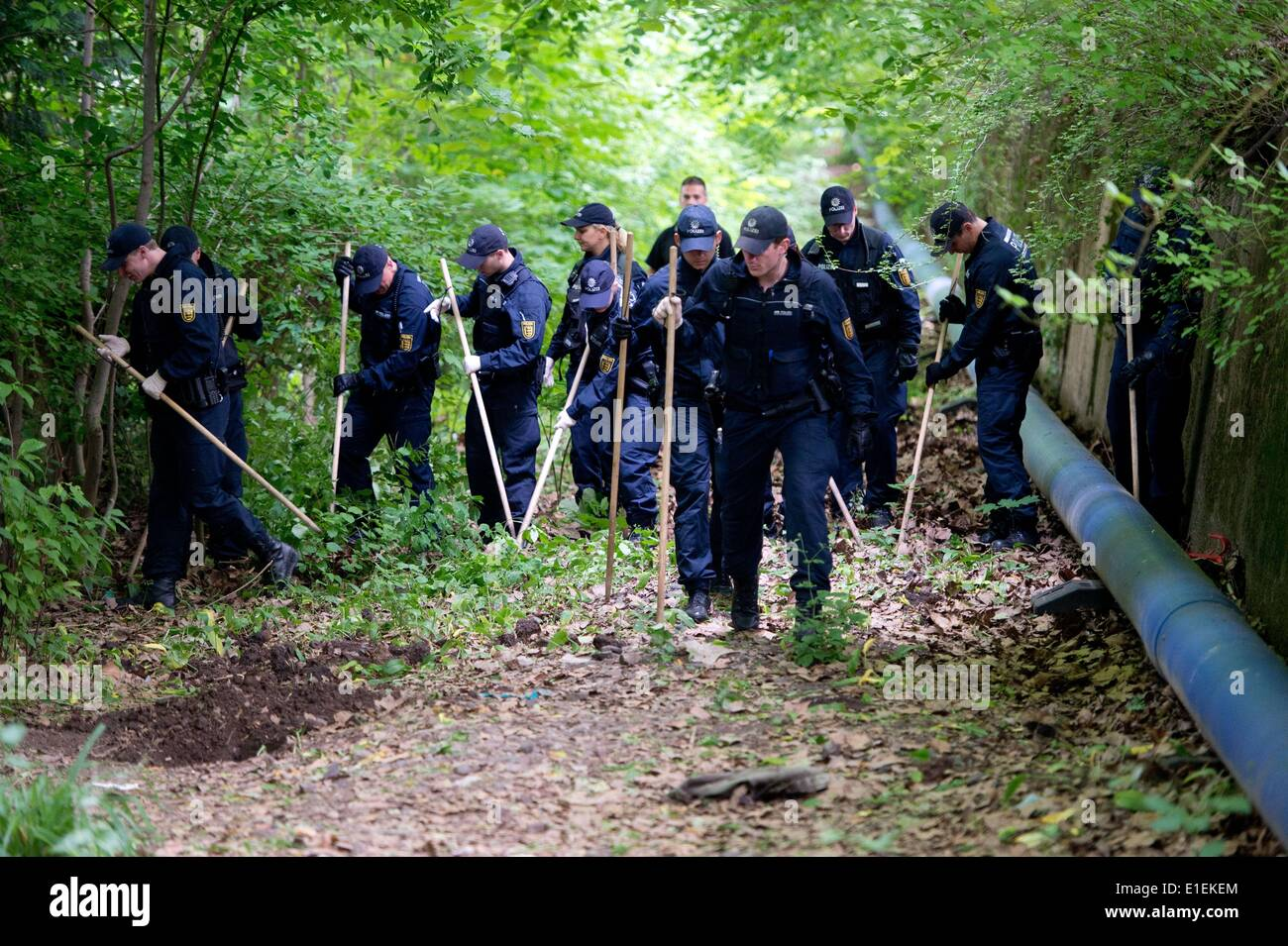 Stuttgart, Germany. 02nd June, 2014. Police officers search for clues at the site where two dead bodies were found in the Palace Garden in Stuttgart, Germany, 02 June 2014. The dead bodies of a woman and a man had been found in suitcases in the park by passers-by in the park the day before. Photo: SEBASTIAN KAHNERT/DPA/Alamy Live News - Stock Image