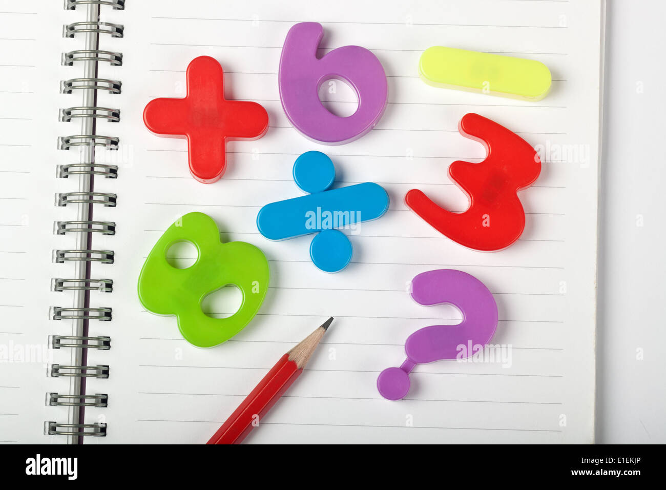 Symbols Of Numbers And Mathematical Signs On Top Of A Notepad Stock