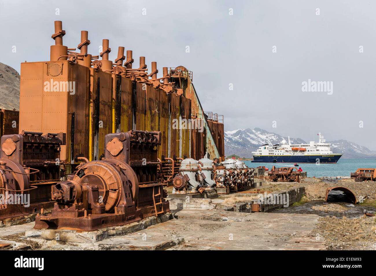 The Lindblad Expeditions ship National Geographic Explorer at the abandoned whaling station in Grytviken, South Georgia - Stock Image