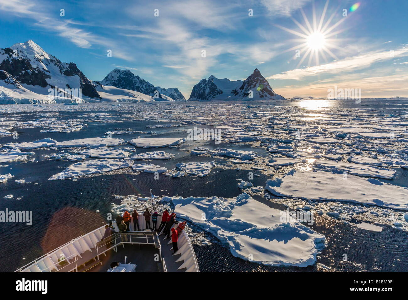 The Lindblad Expeditions ship National Geographic Explorer in the Lemaire Channel, Antarctica, Polar Regions - Stock Image