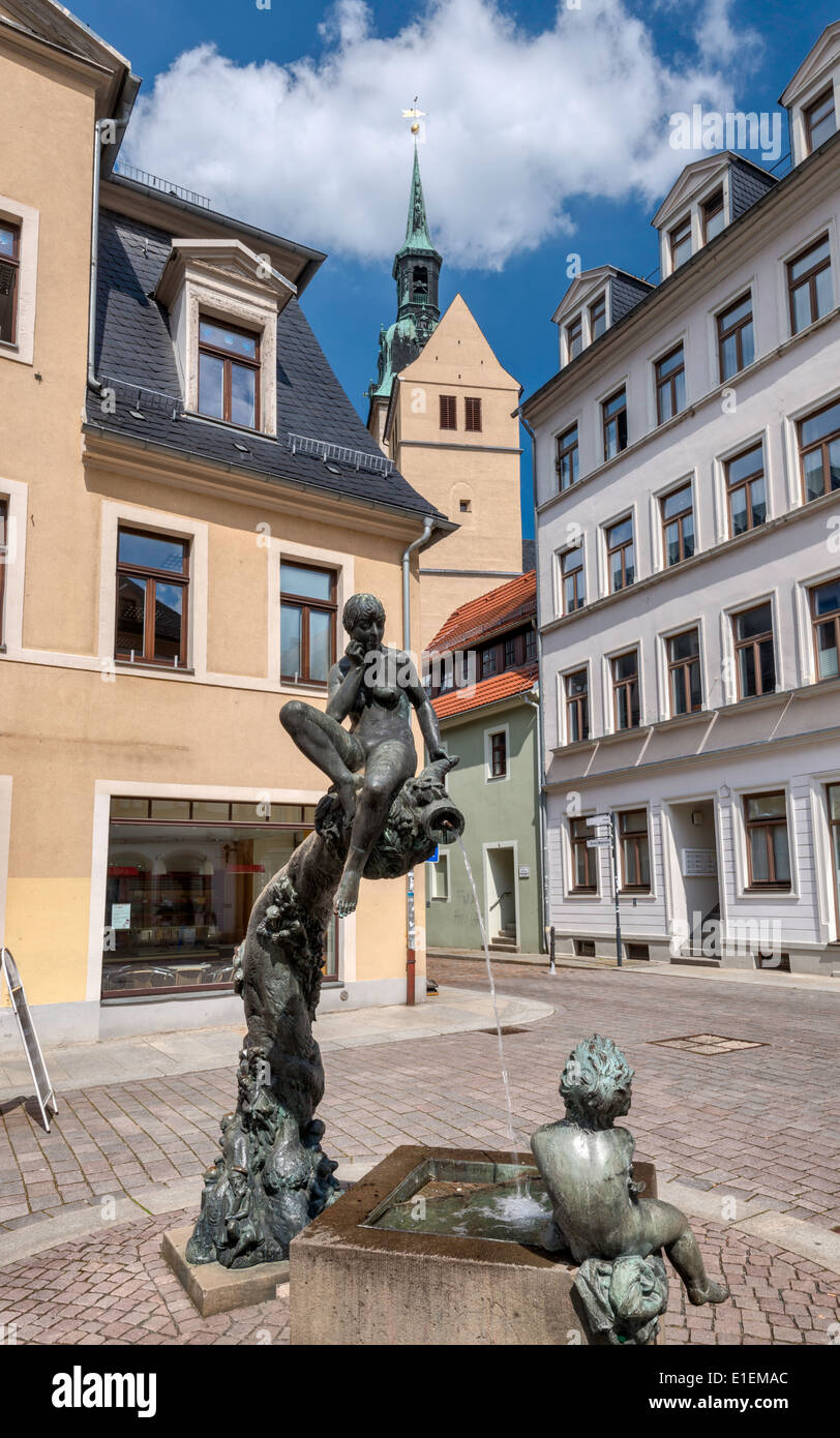 Fountain sculpture on Petersstrasse in Freiberg, Saxony, Germany - Stock Image