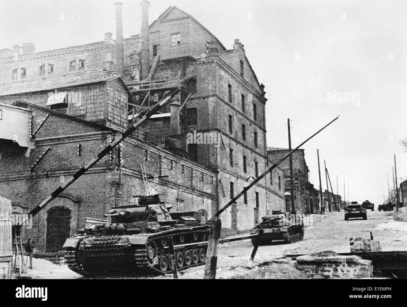 German tanks roll into Rostov, USSR, 1941. In November 1941, the city was occupied by Germans for the first time. Stock Photo