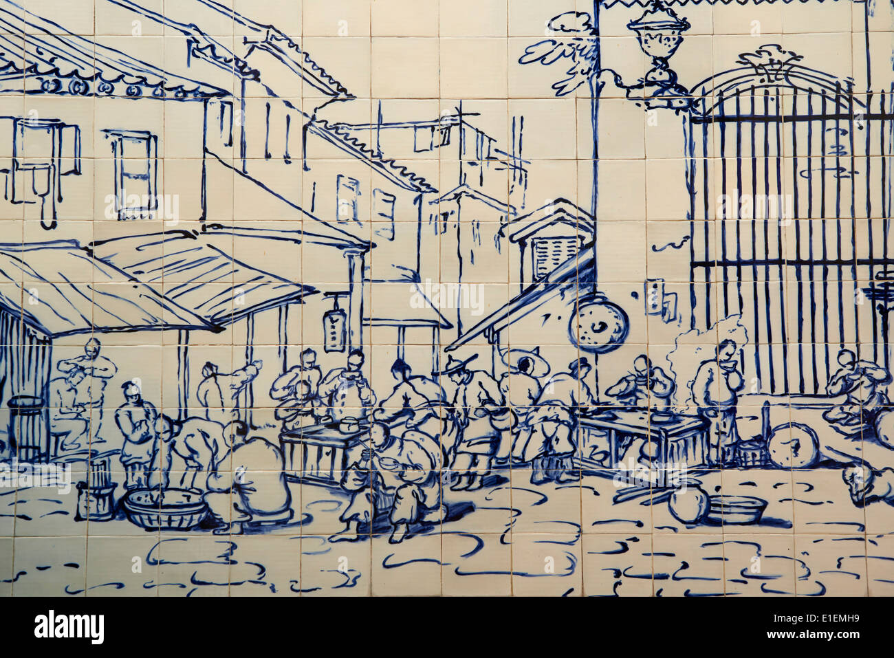 China, Macau, Tiles on the Traversa do Meio, Street Restaurant outside S. Domingos from Georges Chinnery, 1840 - Stock Image