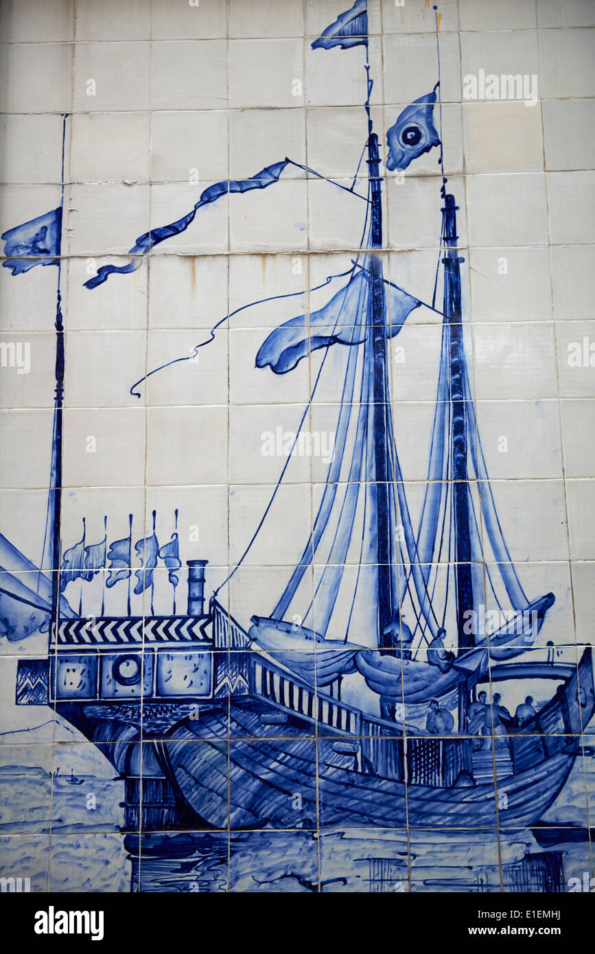 China, Macau, Tiles on the Traversa do Meio, Chinese Junk, from Georges Chinnery, 1837 - Stock Image