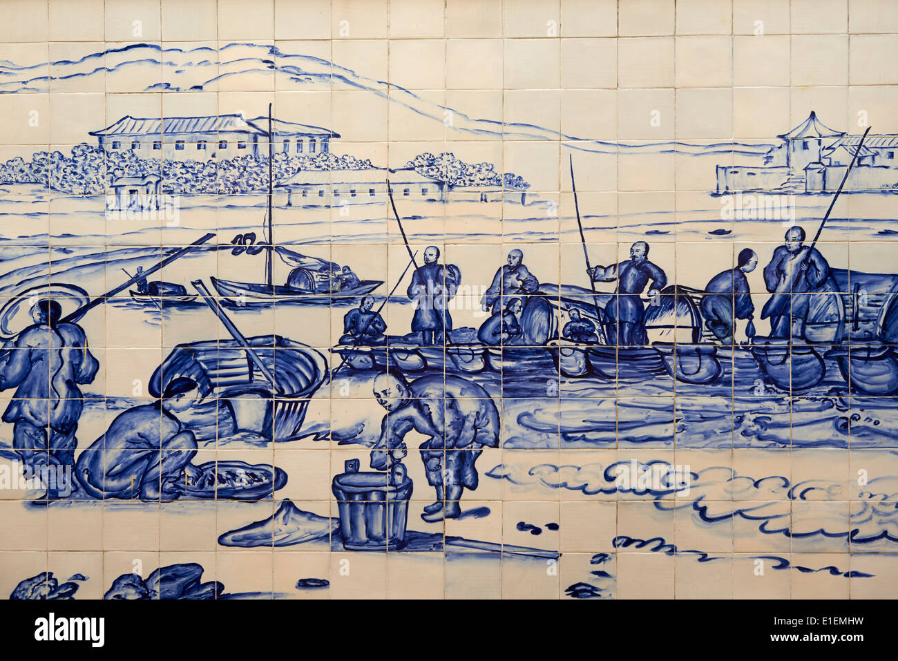 China, Macau, Tiles on the Traversa do Meio, Praia Grande with fishermen from Georges Chinnery, 1837 - Stock Image
