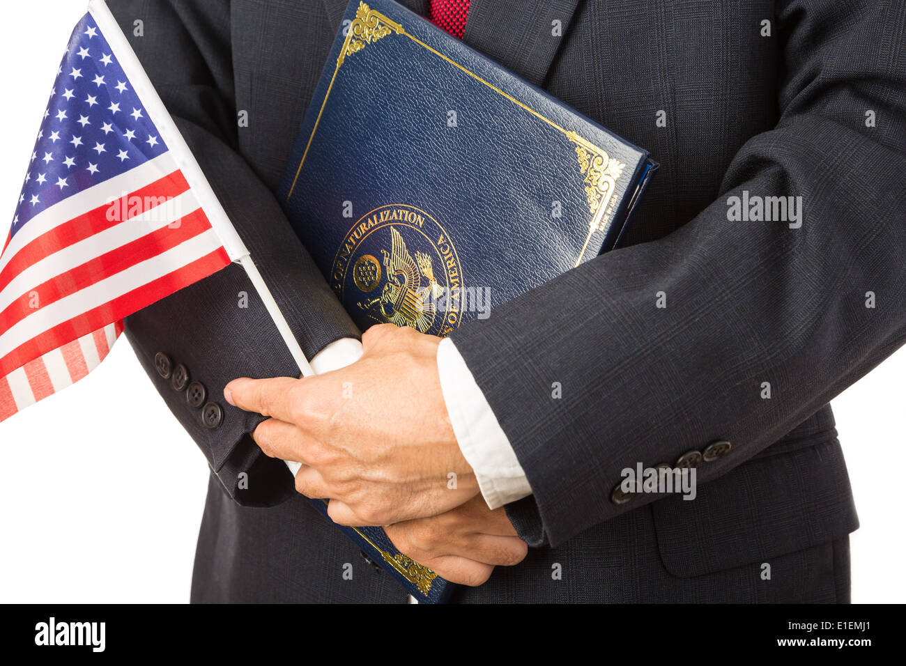 Man with US flag and naturalization certificate - Stock Image