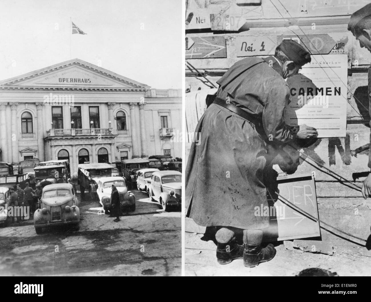 Propaganda text! from Nazi news reporting on the back of the picture: 'Carmen in Kharkiv. Few days already after the recapture of Kharkiv by German troops the opera house opens its doors for the field grey visitors who are arriving in flocks. - Our picture shows the opera house (left) with the German Imperial War Flag flying above it; on the right we see soldiers of a propaganda company, who put up posters in various parts of the city which announce a performance of Bizet's 'Carmen'.' Picture taken at the Eastern Front and published on 12 May 1942. (Flaws in the quality due to the historic pic - Stock Image
