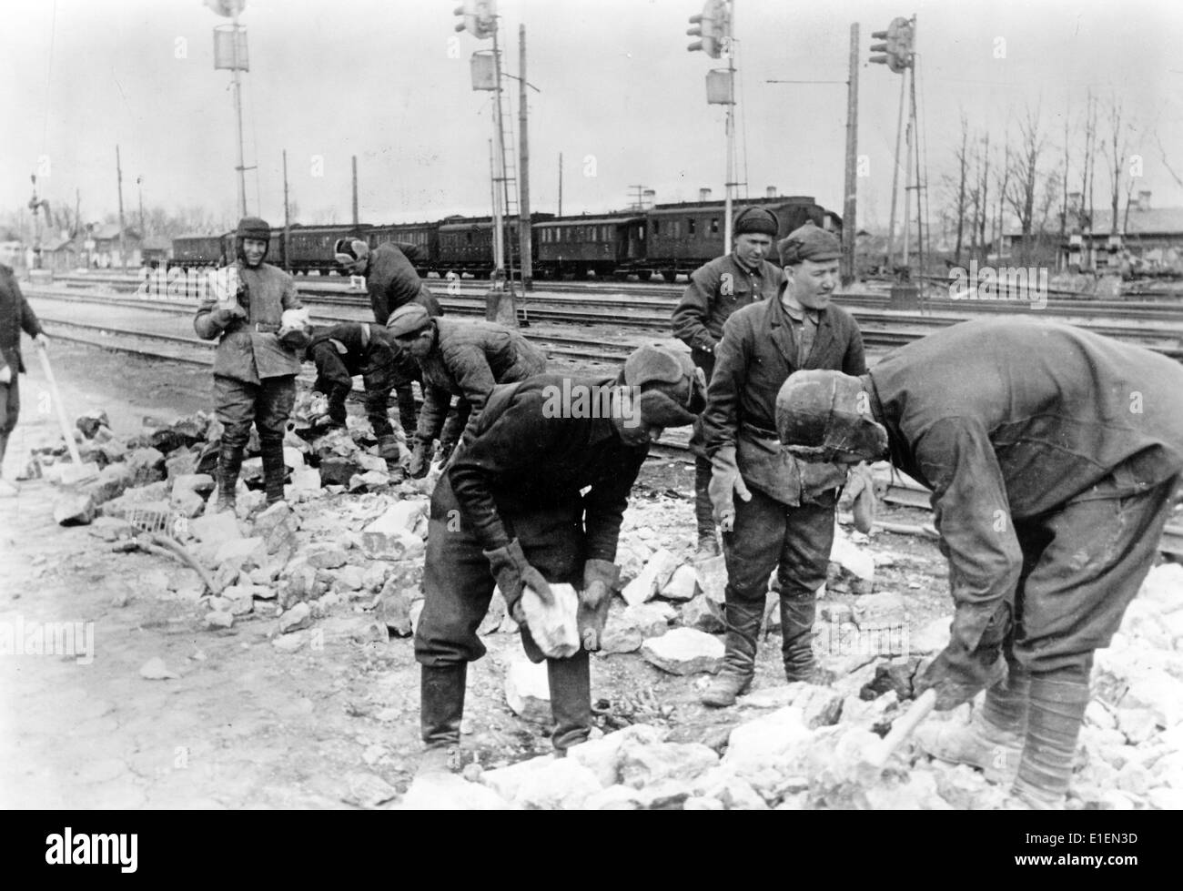 The Nazi propaganda photo shows Soviet POWs who are being forced to work clearing up behind the Eastern Front in Stock Photo