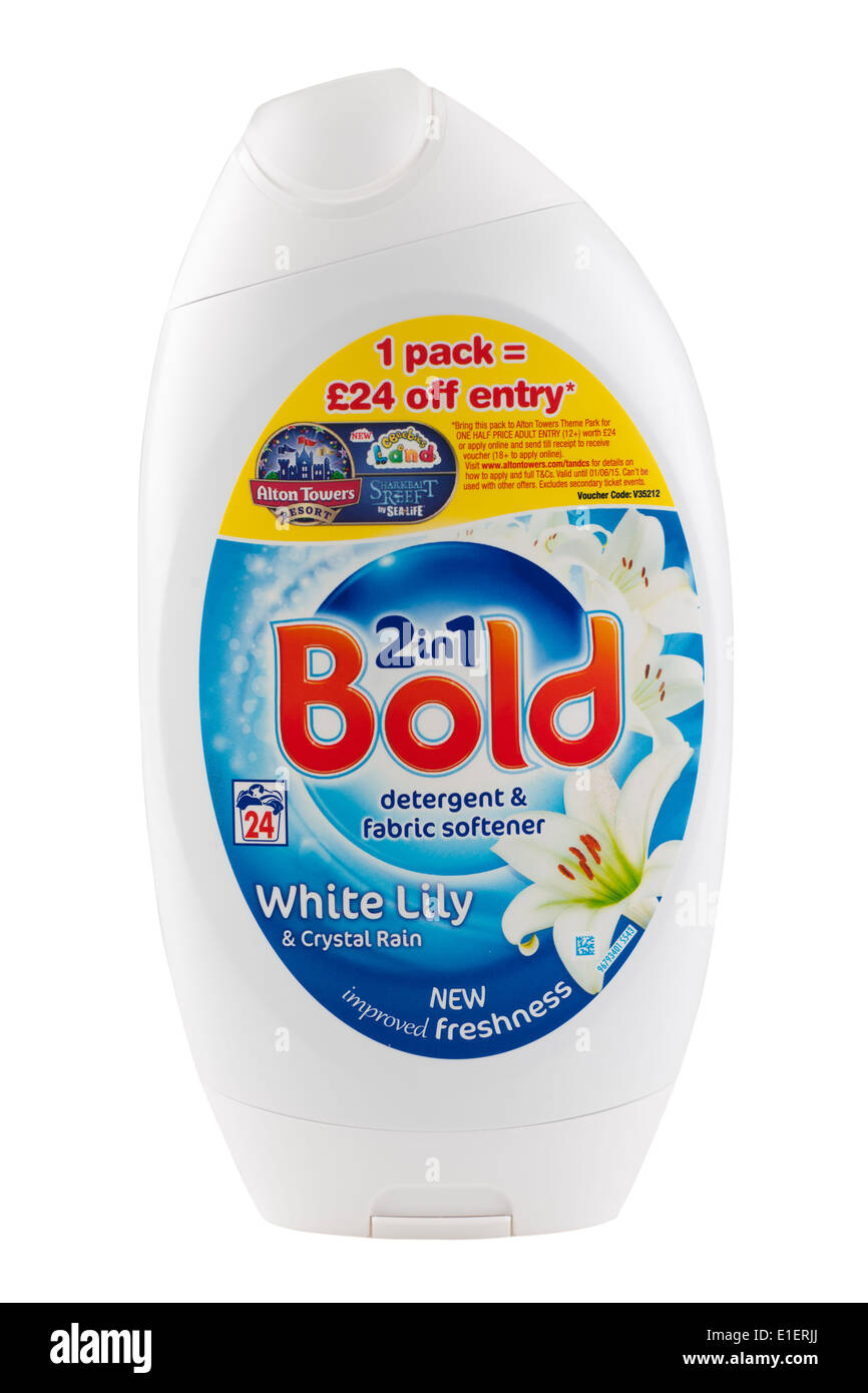 Container of Bold two in one detergent and fabric softener - Stock Image