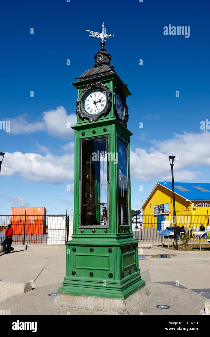 german clock in Punta Arenas port Chile - Stock Image
