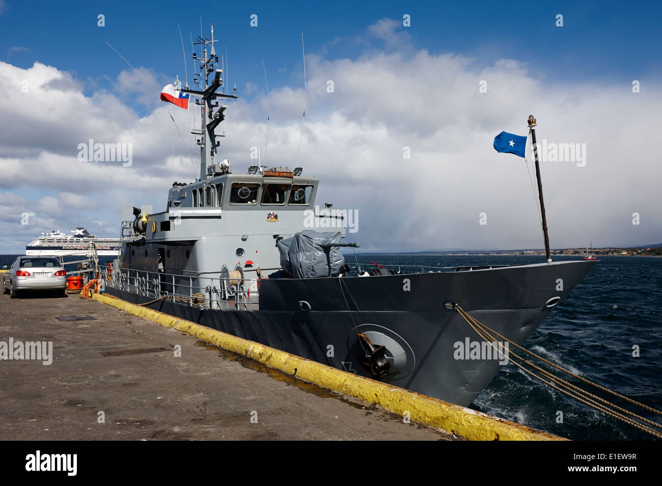 chilean navy ship psg-73 isaza tied up in Punta Arenas port Chile - Stock Image