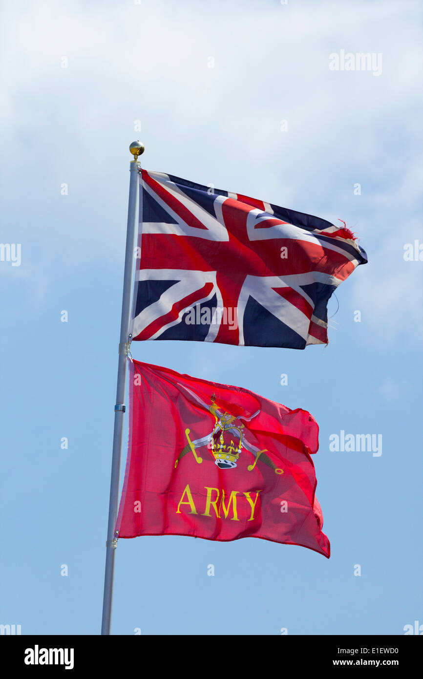 Army and Union Jack flags - Stock Image