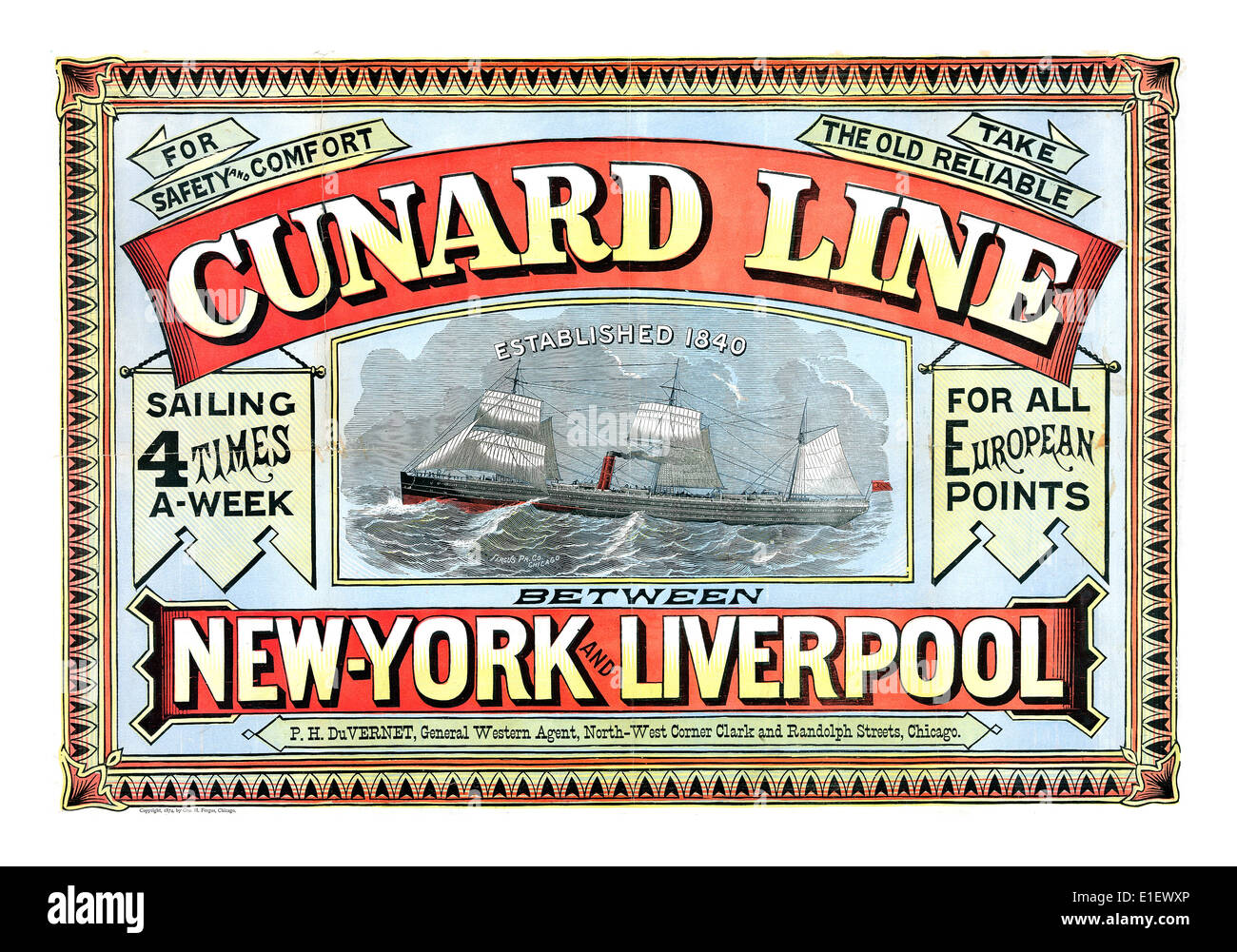CUNARD LINE SHIPPING POSTER 19th Century vintage historic  poster for Cunard Line sailing trans Atlantic from Liverpool to New York - Stock Image