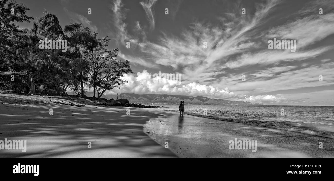Kanaha Beach also know as Kite Beach for the great wind surfing conditions is the jewel of the north shore. - Stock Image