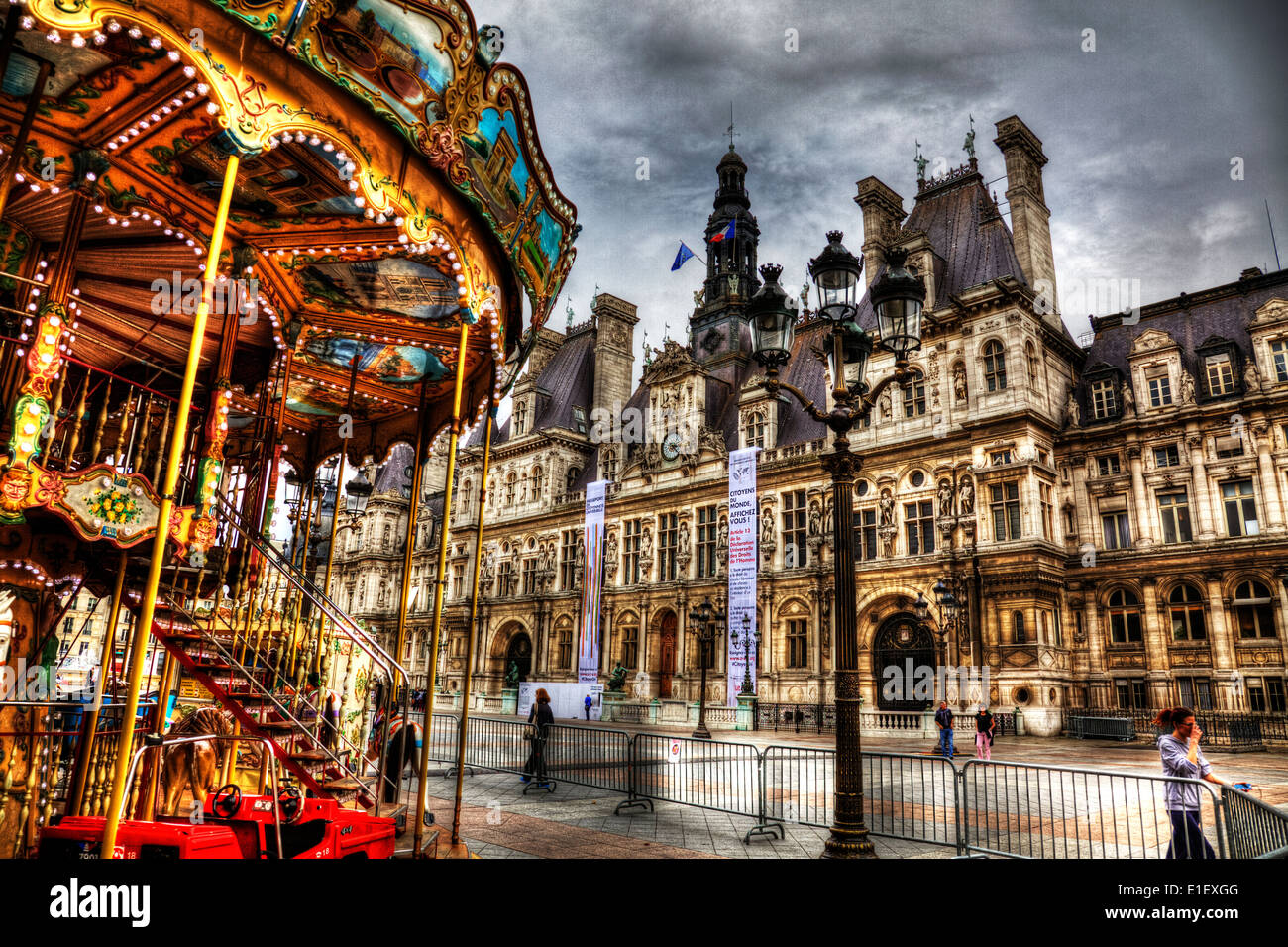 The Hotel de Ville (Town Hall), 4th Arrondissement, Paris, France front entrance exterior facade outside - Stock Image