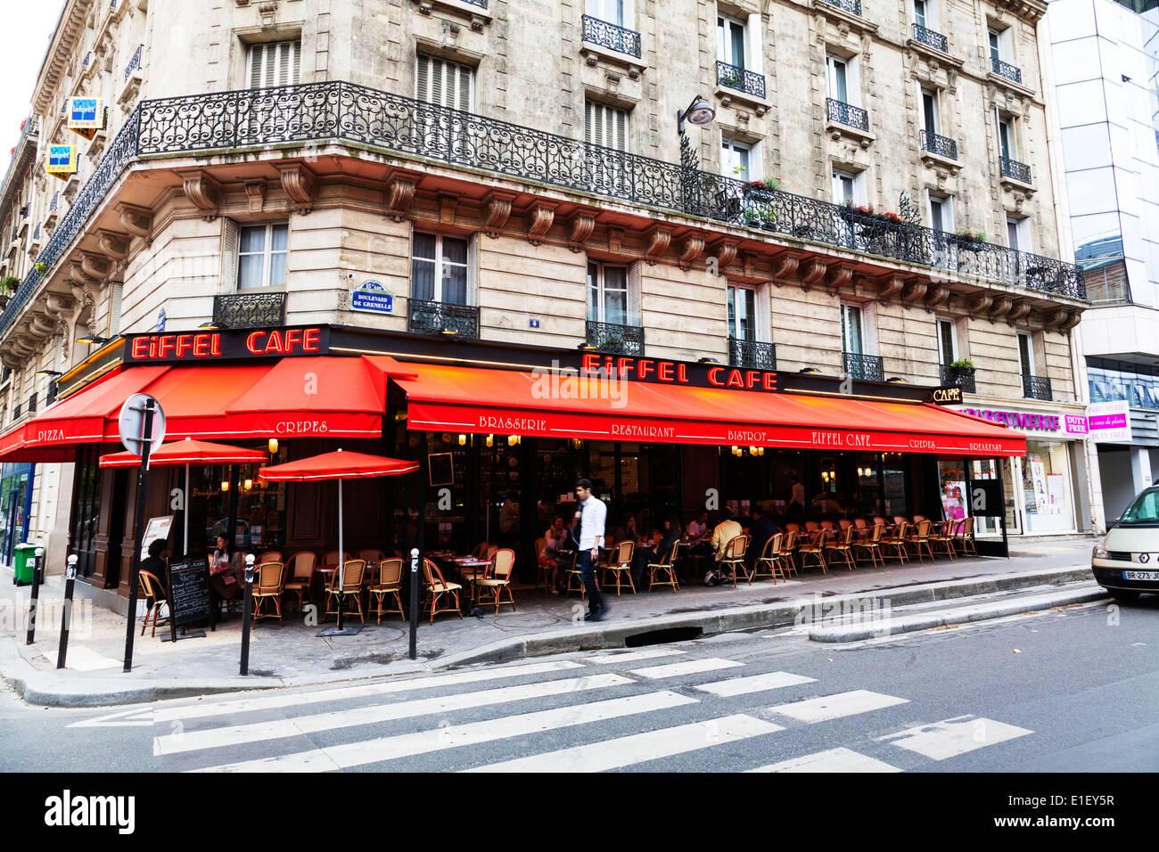 Eiffel cafe bistro typical brasserie close to the Eiffel tower Paris France - Stock Image