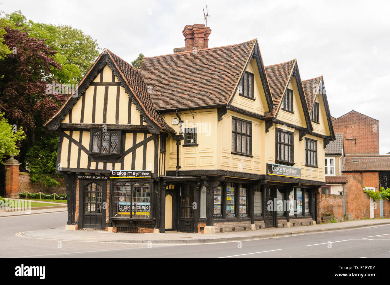 Blake Mayhew estate agents, housed in an old Tudor building, Ipswich - Stock Image