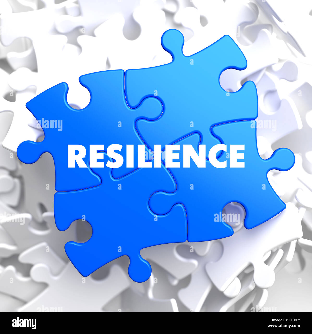 Resilience on Blue Puzzle on White Background. - Stock Image