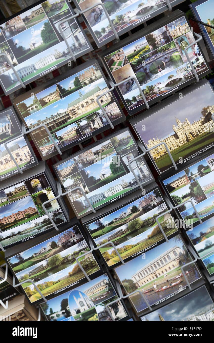 UK, Cambridge, tourist postcards for sale. - Stock Image