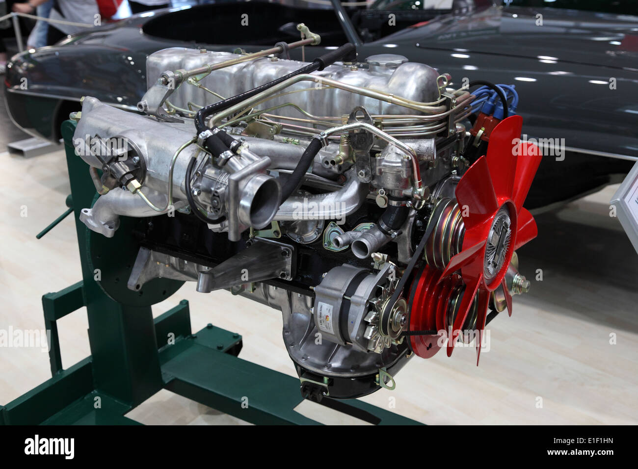 Restored Mercedes Benz SL300 Motor at the AMI - Auto Mobile International Trade Fair on June 1st, 2014 - Stock Image