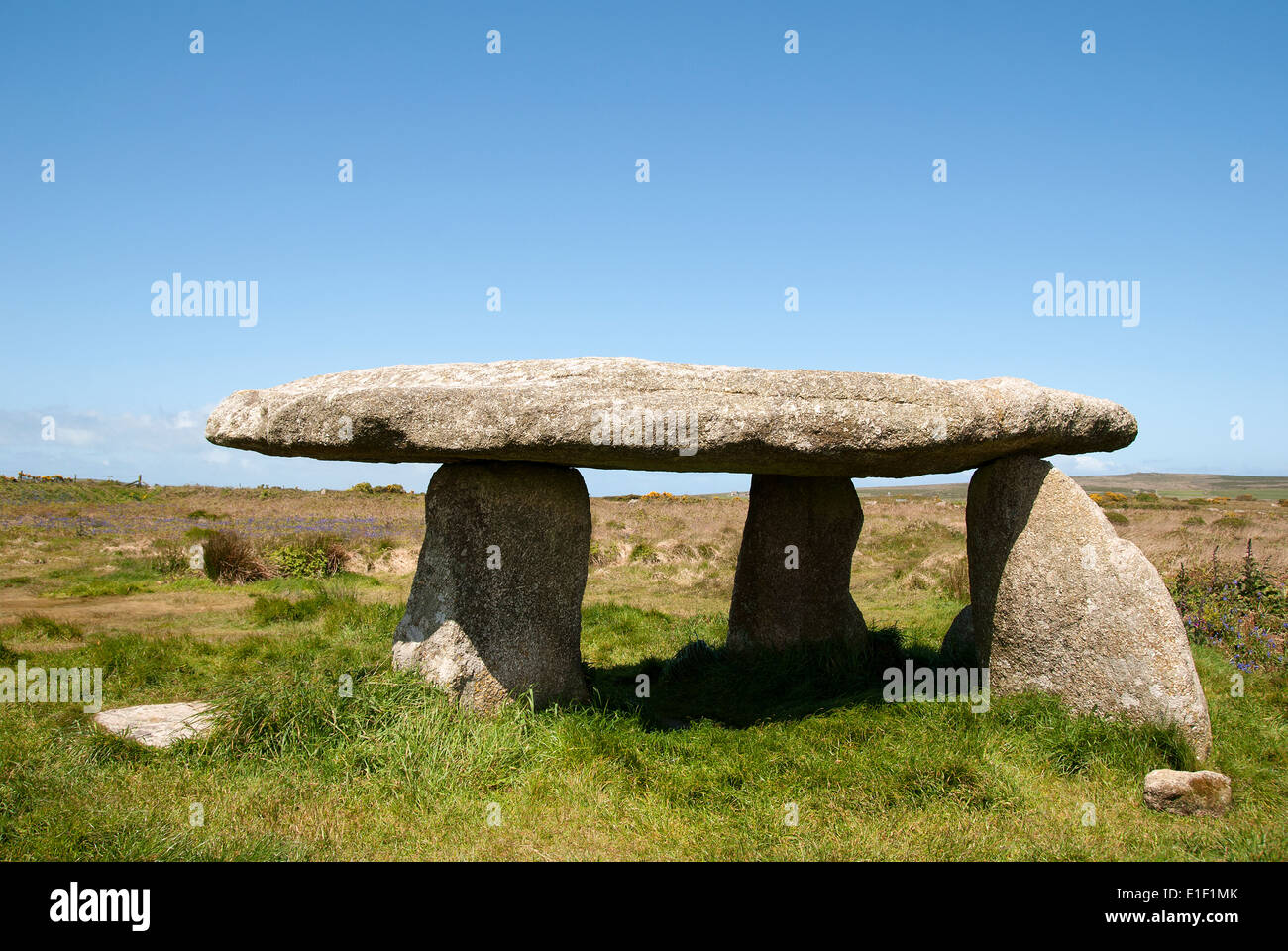 lanyon quoit an ancient celtic tombstone near madron in cornwall, uk - Stock Image