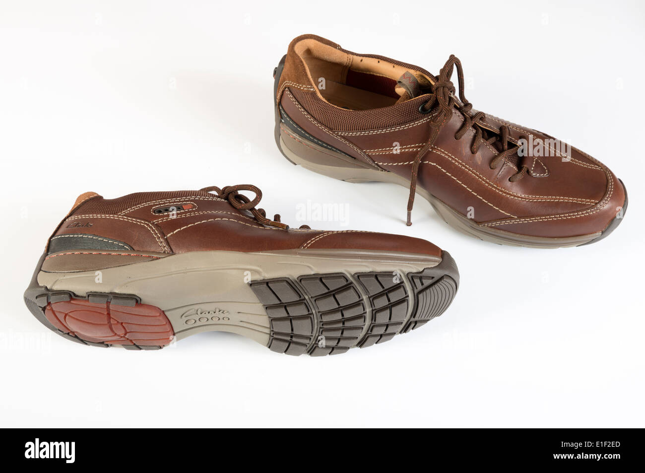 Clarks active air vent shoes with air-pump fitted into the heels - Stock Image