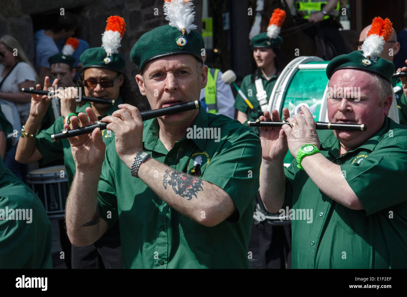 Members of an Irish Republican flute band on the James Connolly Memorial March in Edinburgh, 2014. - Stock Image