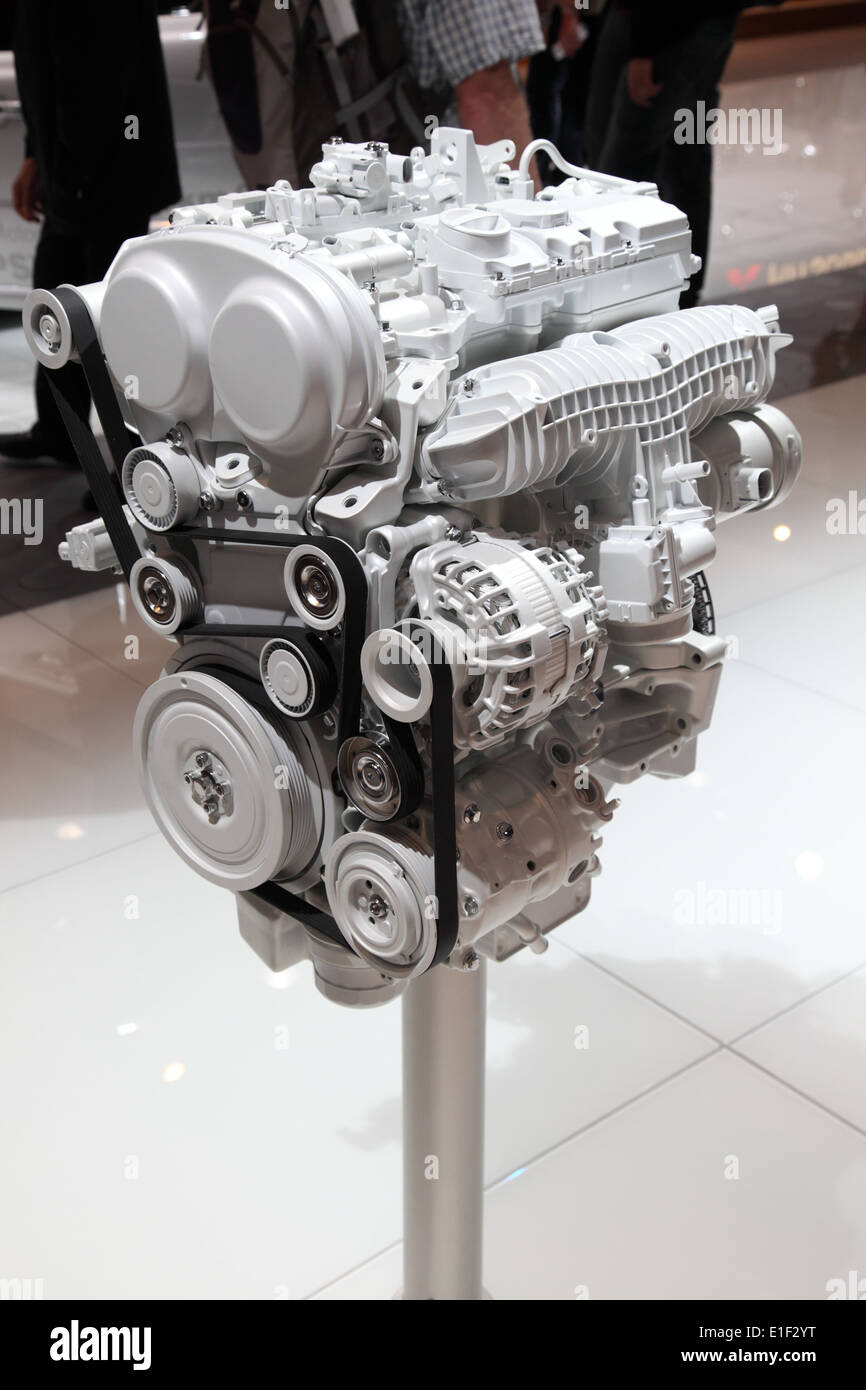 New Volvo Motor at the AMI - Auto Mobile International Trade Fair on June 1st, 2014 in Leipzig, Saxony, Germany - Stock Image