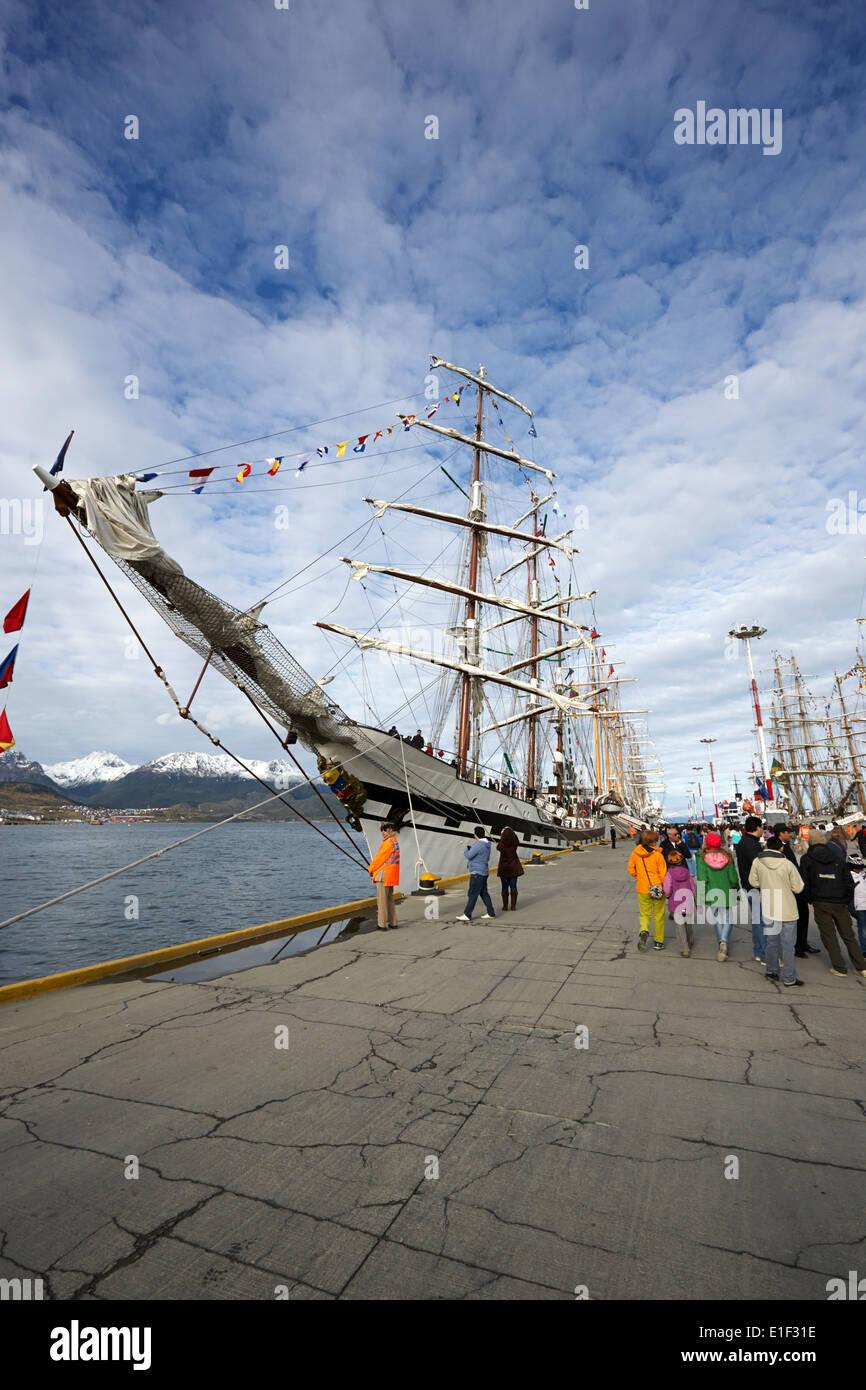 latin american navy sail training ships moored in Ushuaia Argentina part of velas latinoamerican 2014 - Stock Image