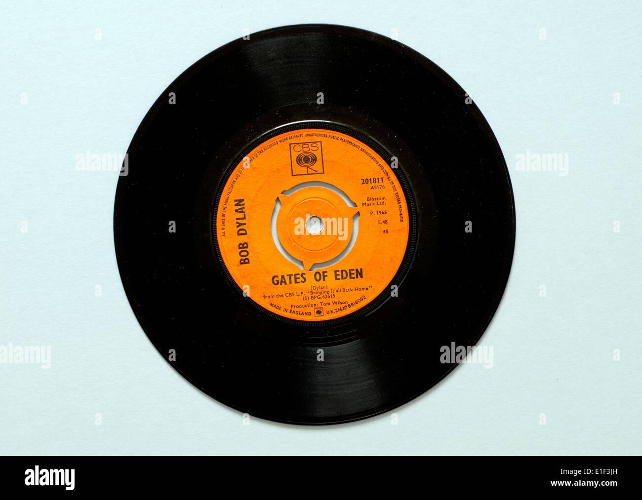 'Gates of Eden' by Bob Dylan, vinyl 45 rpm record. - Stock Image