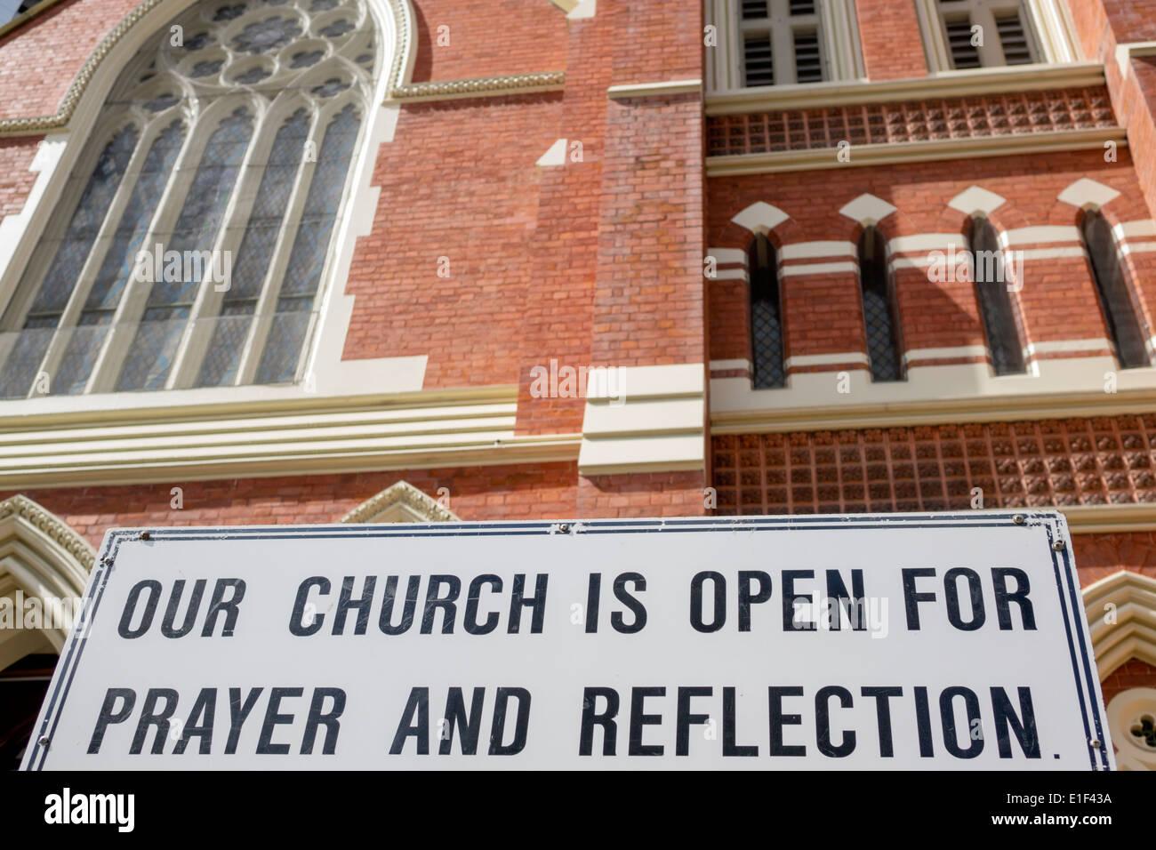 Brisbane Australia Queensland Central Business District CBD Albert Street Congregation church Uniting Church Christian sign open prayer reflection - Stock Image