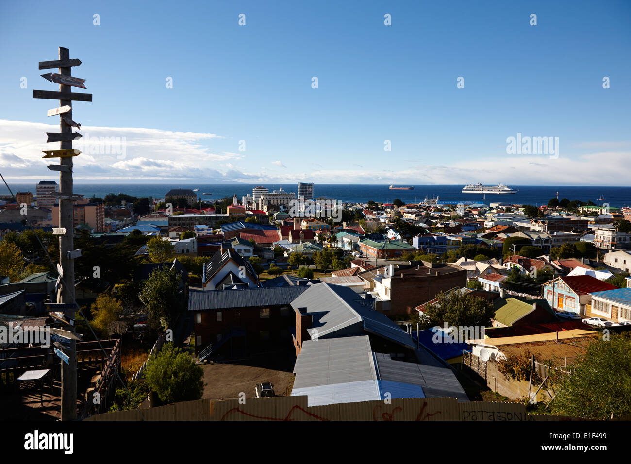 distance marker signposts at la cruz viewpoint in Punta Arenas Chile - Stock Image