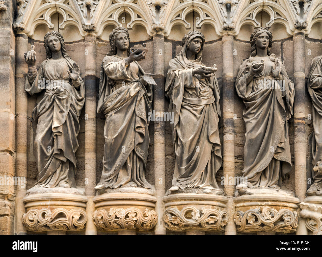 Statues at Dom St Marien (St Mary Church) in Zwickau, Saxony, Germany - Stock Image