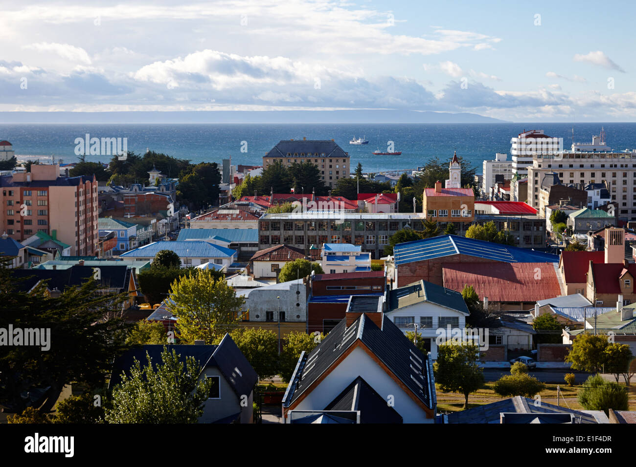 looking down over the city from la cruz viewpoint towards tierra del fuego in Punta Arenas Chile - Stock Image