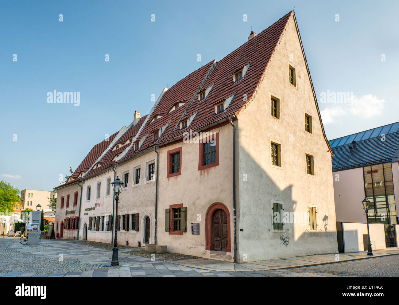 Priesterhauser, medieval houses of priests in Zwickau, Saxony, Germany - Stock Image