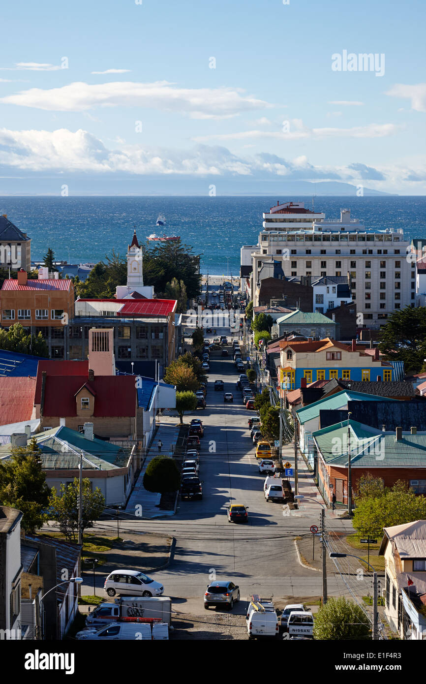 looking down over the city from la cruz viewpoint in Punta Arenas Chile - Stock Image