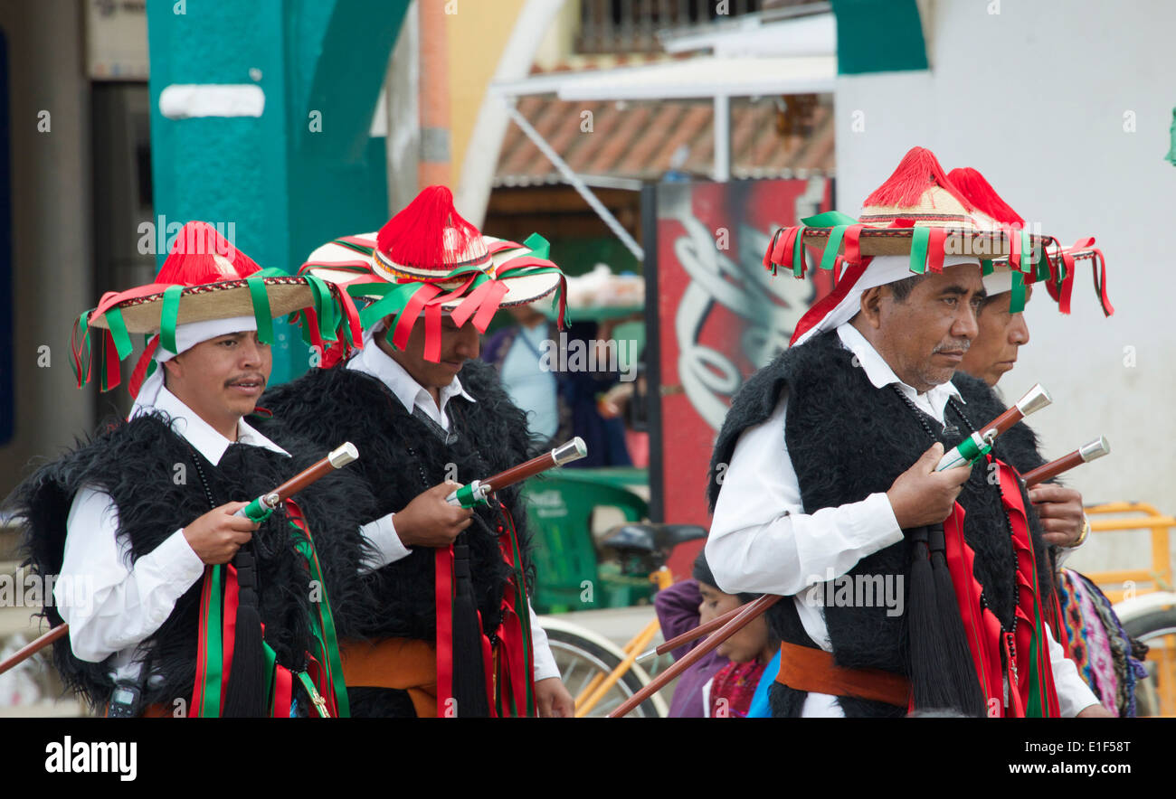 Officials in traditional costume Sunday market San Juan Chamula Chiapas Mexico - Stock Image