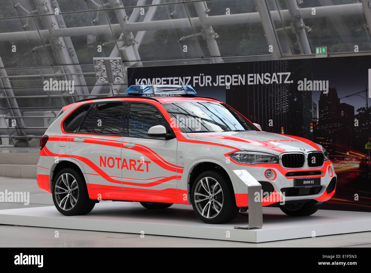 BMW X5 Notarzt (emergency doctor) at the AMI - Auto Mobile International Trade Fair on June 1st, 2014 in Leipzig, Saxony, German - Stock Image