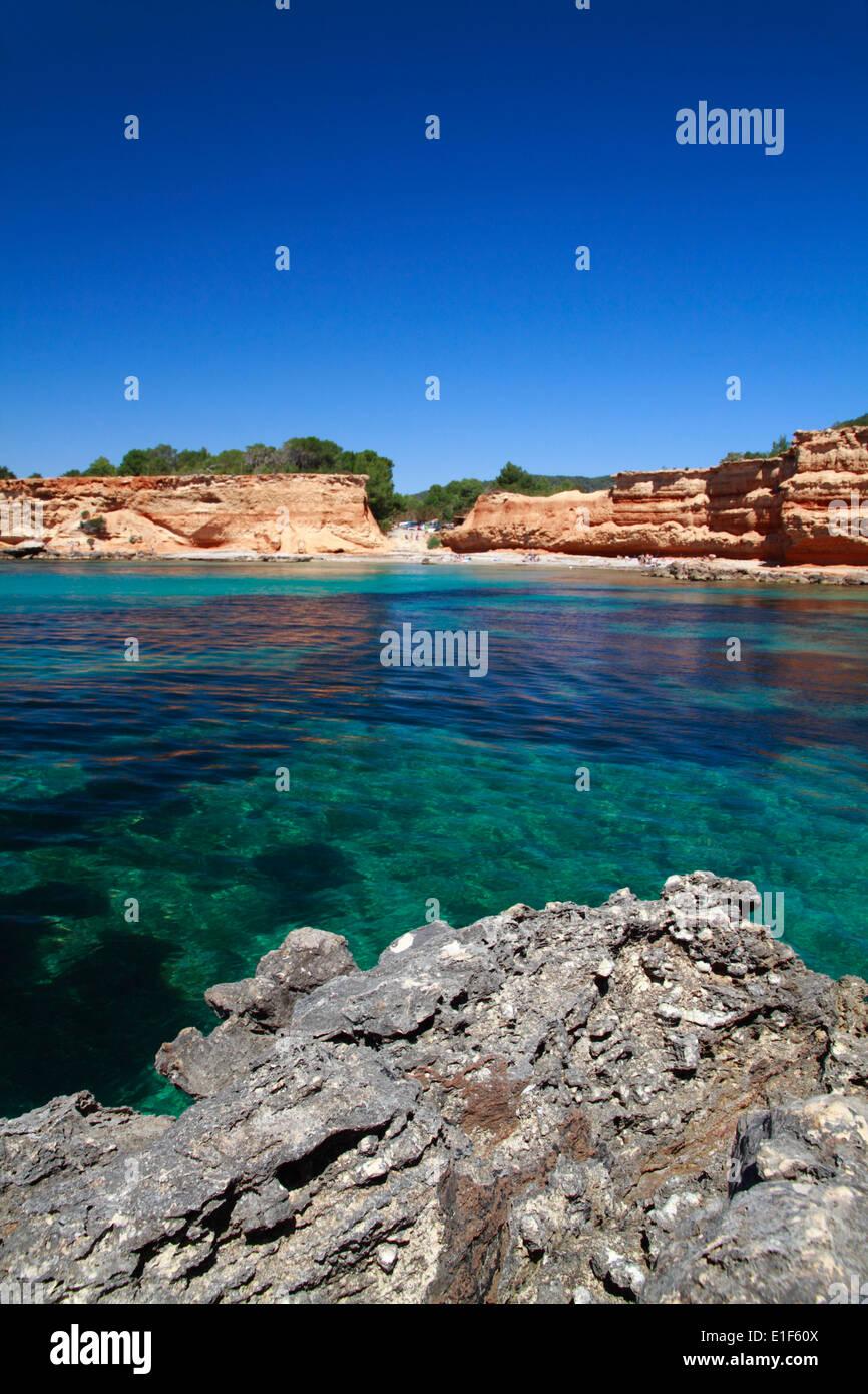 General view of Sa Caleta beach - Stock Image