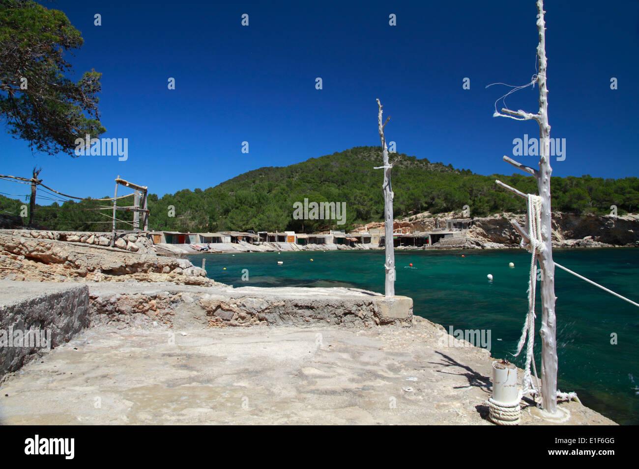 Boat huts at Sa Caleta - Stock Image