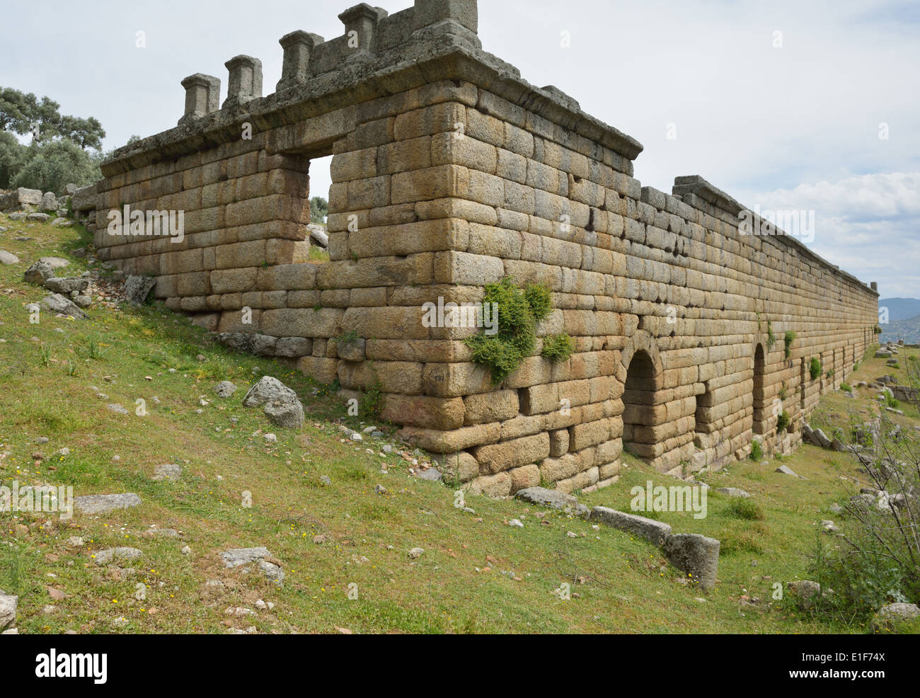 Three-story Hellenistic stoa, Alinda, Turkey 140416_60816 - Stock Image