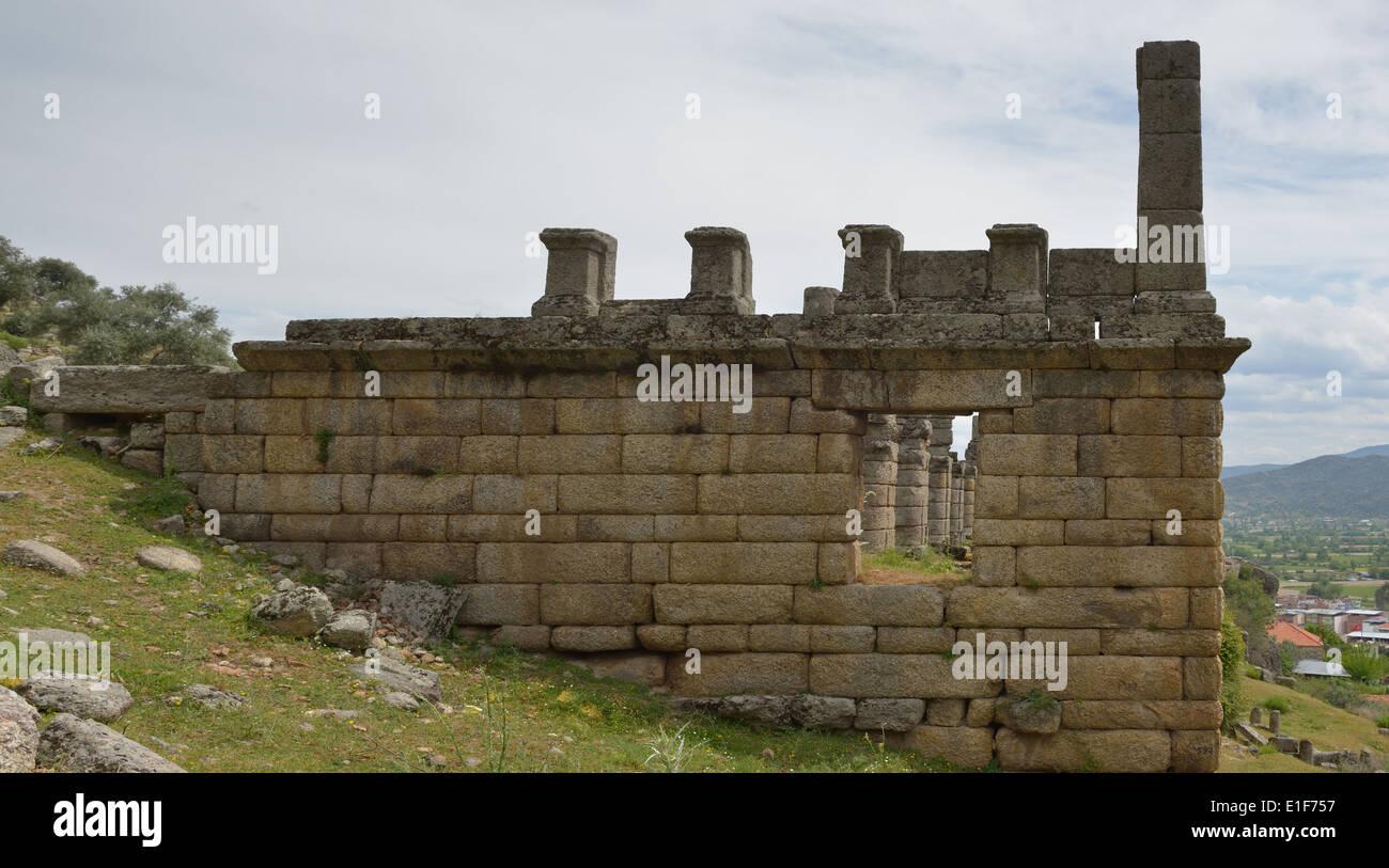 Three-story Hellenistic stoa, Alinda, Turkey 140416_60818 - Stock Image