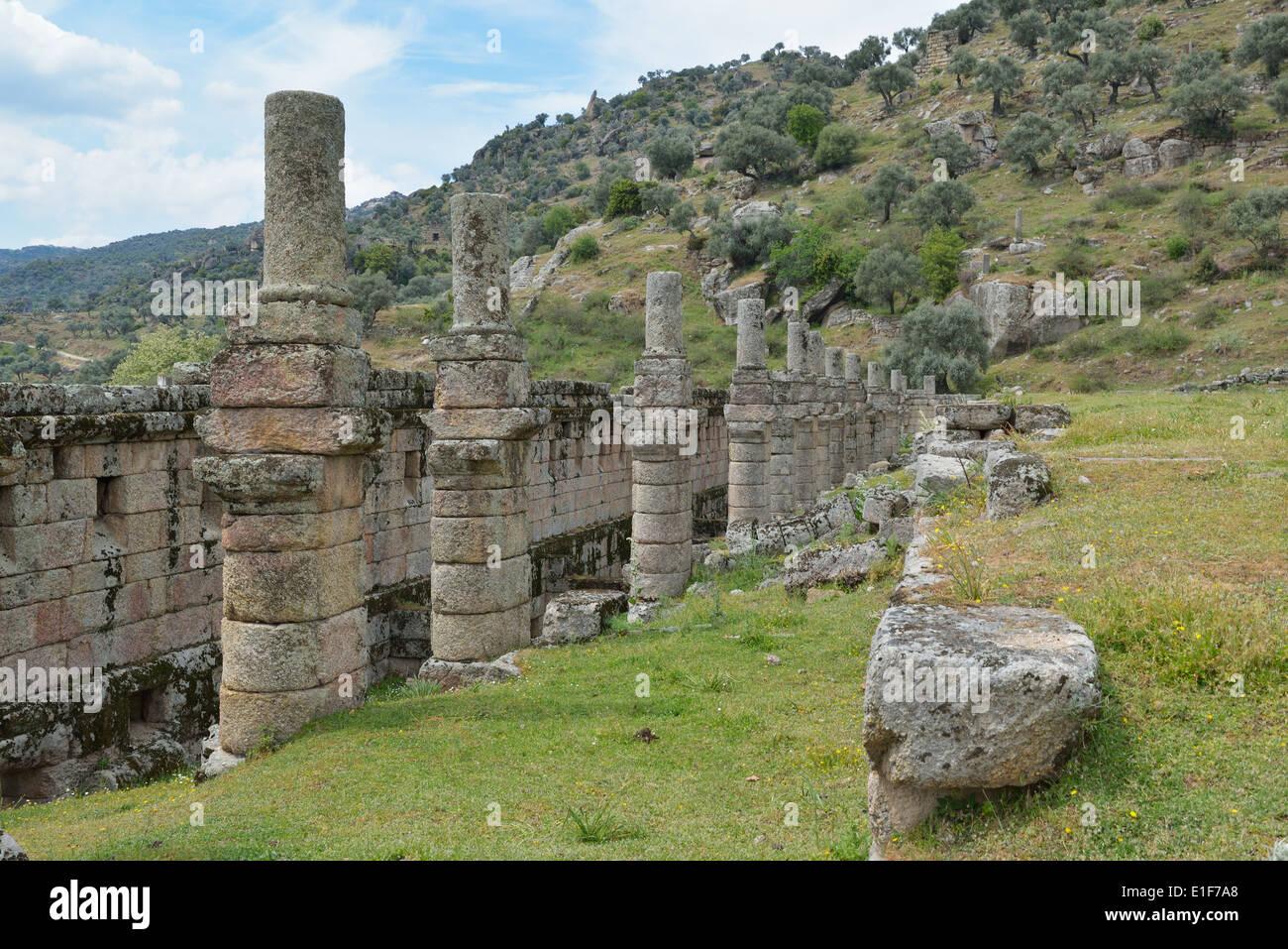 Three-story Hellenistic stoa, Alinda, Turkey 140416_60828 - Stock Image