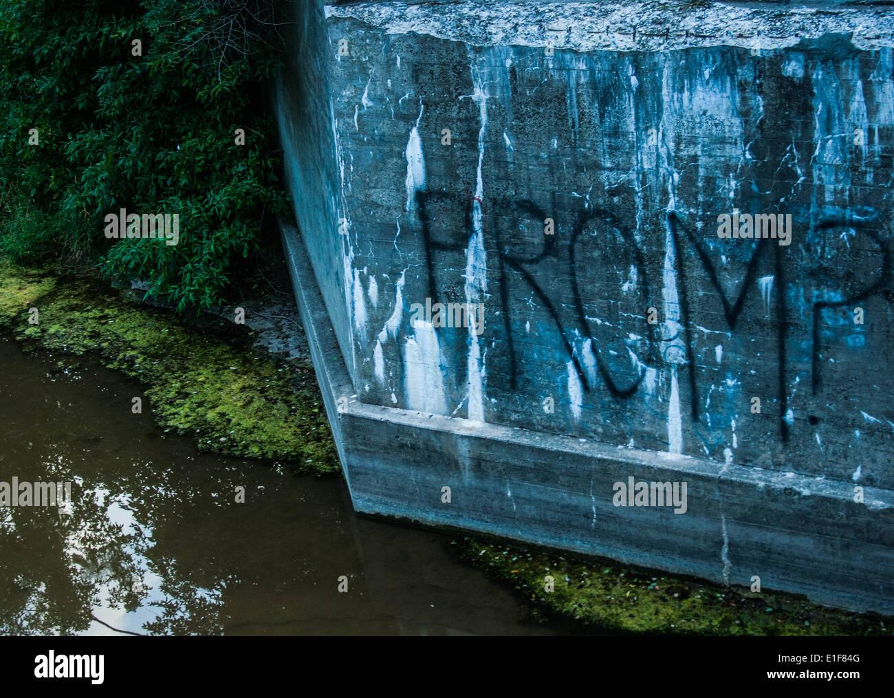 Unique Graffiti Prom Proposal on Rock Wall - Stock Image