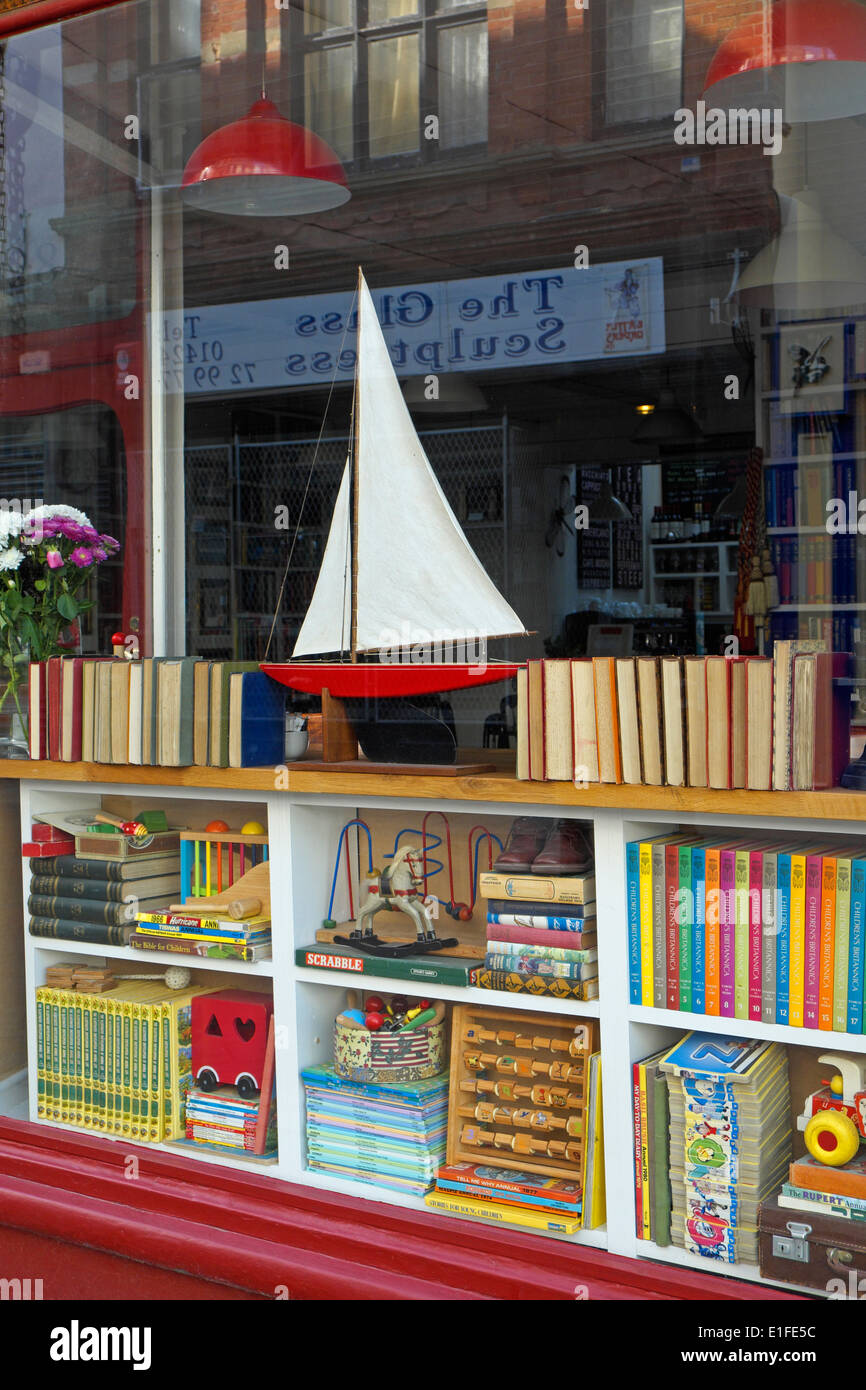 Bookshop and curio shop in George Street Hastings Old Town East Sussex England GB UK - Stock Image