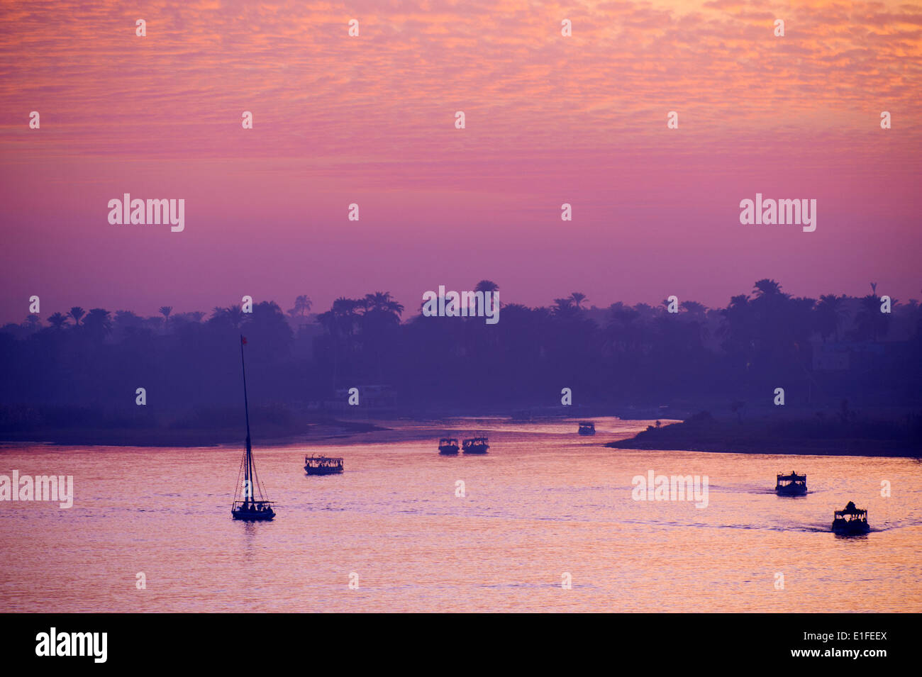 Egypt, Nile Valley, Luxor, sunset on the Nile - Stock Image
