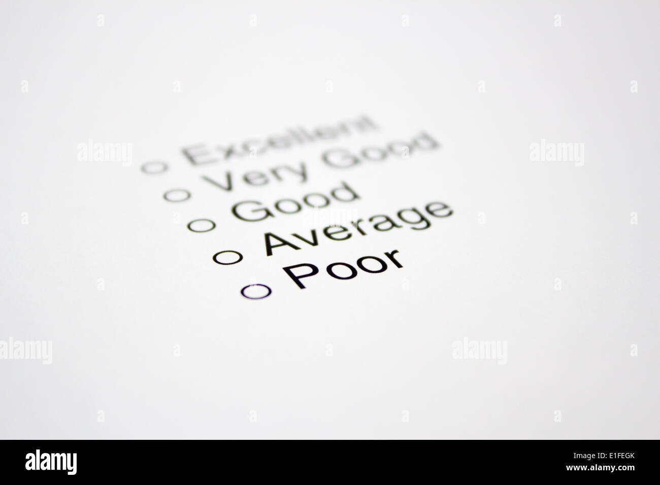 Feedback Questionnaire - Stock Image