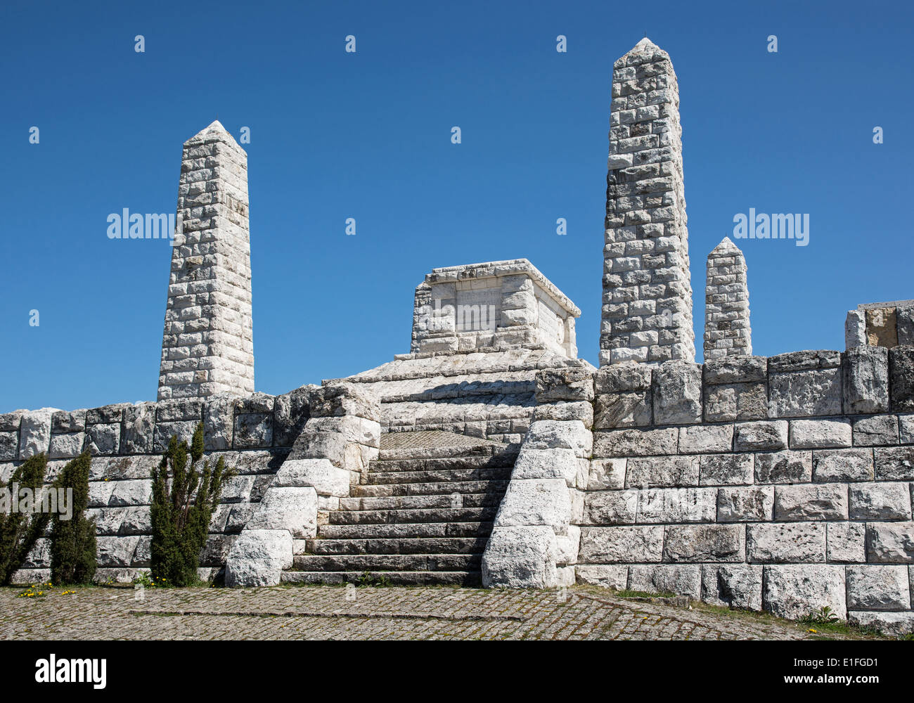 Stefanik's tomb on the Bradlo hill in Brezova pod Bradlom, Slovakia. Reverent place. - Stock Image